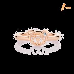 18K Pink Gold Diamond Bear Ring
