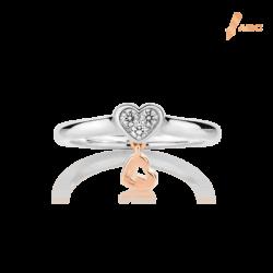 Silver & 14K Gold Cluster Diamond Heart Ring