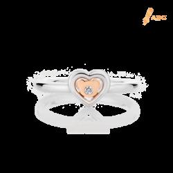 Silver & 14K Gold Heart & Bear Diamond Ring