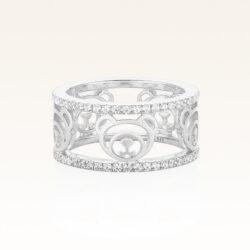 Silver Bear Band CZ Ring