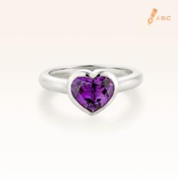 Silver Natural Ametheyst Heart Ring