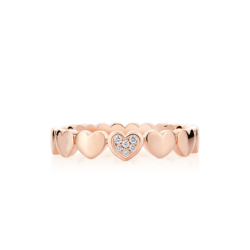 18K Pink Gold Diamond Heart Eternity Band Ring