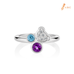 Silver Semi-precious Stones & CZ Bear Ring