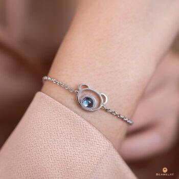 Silver Beawelry Bear Blue Topaz Bracelet