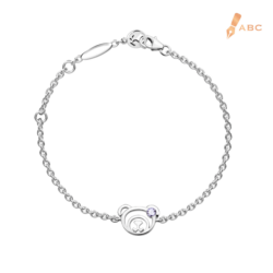 Silver February Birthstone Amethyst Color CZ Bear Bracelet