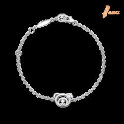 Silver June Birthstone Light Amethyst Color CZ Bear Bracelet