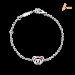 Silver July Birthstone Ruby Color CZ Bear Bracelet