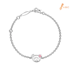 Silver October Birthstone Pink Tourmaline Color CZ Bear Bracelet