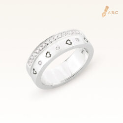 18K White Gold Diamond Double Row Band Ring