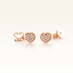 18K Pink Gold Heart Earrings with Cluster Diamonds