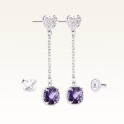 Silver Beawelry Amethyst Drop Earrings