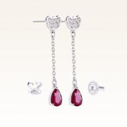 Silver Pear Shape Genuine Ruby Drop Earrings