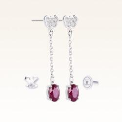 Silver Oval Genuine Ruby Drop Earrings