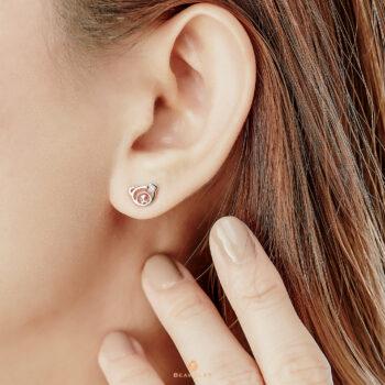 14K Pink Gold Beawelry Bear Earring with Diamonds