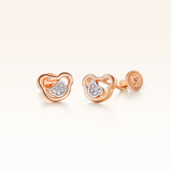14K Pink Gold Double Bears Earrings with Diamonds