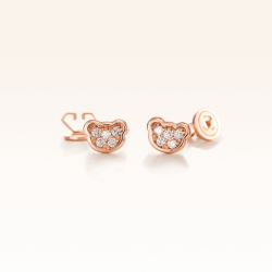 14K Pink Gold Mini Beawelry Bear Earrings with Diamonds