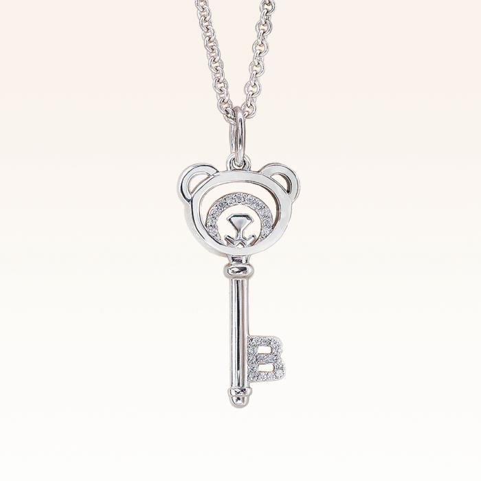 Silver Bear Key CZ Pendant