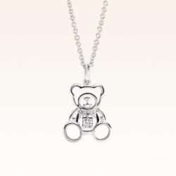 Silver Beawelry Bear Outline CZ Pendant