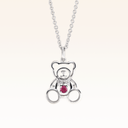 Silver Beawelry Bear Outline Ruby Pendant
