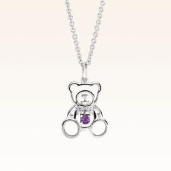 Silver Beawelry Bear Outline Amethyst Pendant