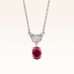 Silver Classic Beawelry Oval Ruby & White Topaz Pendant