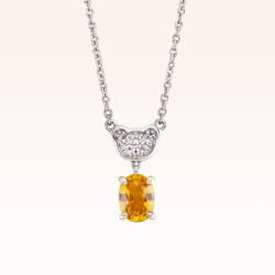 Silver Classic Beawelry Oval Yellow Sapphire & White Topaz Pendant