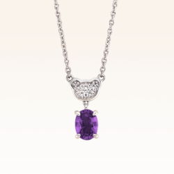 Silver Classic Beawelry Oval Amethyst & White Topaz Pendant