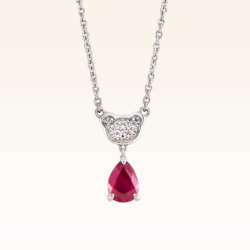 Silver Classic Beawelry Pear Shape Ruby & White Topaz Pendant