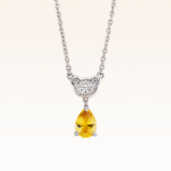 Silver Classic Beawelry Pear Shape Yellow Sapphire & White Topaz Pendant