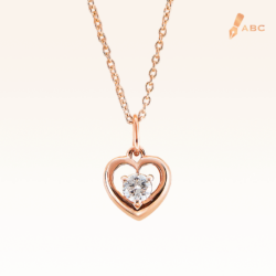 14K Pink Gold Heart Pendant with Diamond