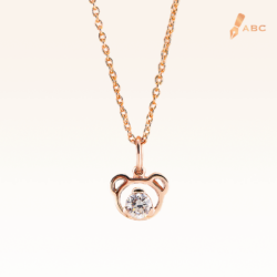 14K Pink Gold Beawelry Bear Pendant with Diamond