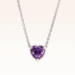 Silver Heart Amethyst Pendant
