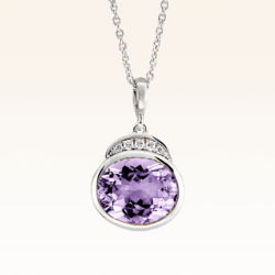 Silver Big Oval Amethyst Cocktail Pendant with CZ