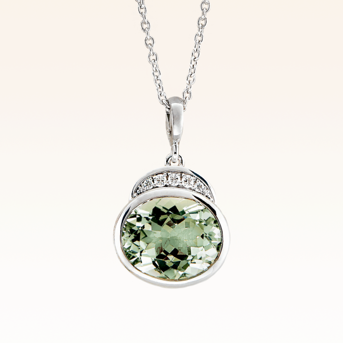 Silver Big Oval Green Amethyst Cocktail Pendant with CZ
