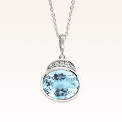 Silver Big Oval Blue Topaz Cocktail Pendant with CZ