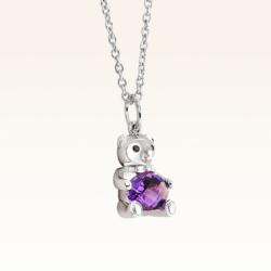 Silver Baby Beawelry Bear Amethyst Pendant