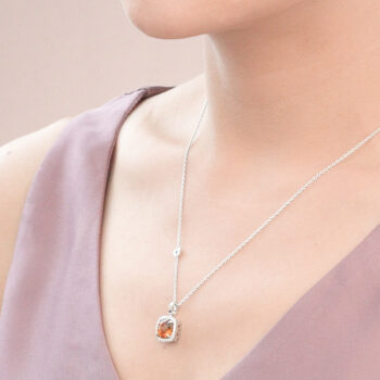 Silver Big Cushion Citrine Cocktail Pendant with CZ