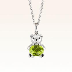Silver Baby Beawelry Bear Peridot Pendant