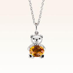 Silver Baby Beawelry Bear Golden Citrine Pendant