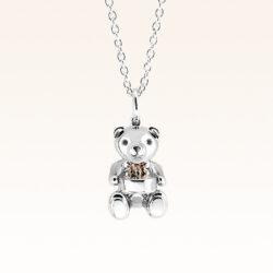 Silver Mini Beawelry Bear & Birthday Cake Pendant