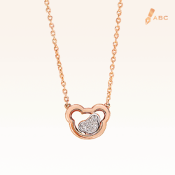 14K Pink Gold Double Bears Diamonds Pendant