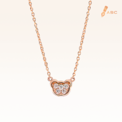 14K Pink Gold Mini Beawelry Bear Pendant with Diamonds