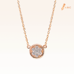 14K Pink Gold Mini Round Cluster Diamonds Pendant