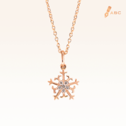 14K Pink Gold Mini Snowflake Diamonds Pendant