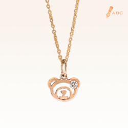 14K Pink Gold Beawelry Bear Diamond Pendant