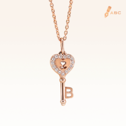 14K Pink Gold Heart Key Diamonds Pendant