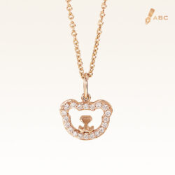 14K Pink Gold Beawelry Bear Pendant with Diamonds
