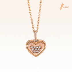 14K Pink Gold Love Bear Diamond Pendant