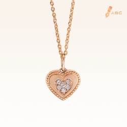 14K Pink Gold Double Hearts Diamond Pendant
