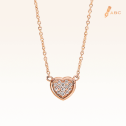 14K Pink Gold Mini Heart Cluster Diamond Pendant